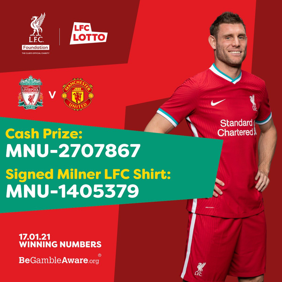 🔴TODAY'S WINNING NUMBERS!  💷Huge Cash Prize: MNU- 2707867 🏆Signed Milner Shirt: MNU- 1405379  👏Congrats to our winners & a huge thanks to those who continue to support the @LFCFoundation with every ticket!  Think you're a winner?👇   #LIVMUN #YNWA