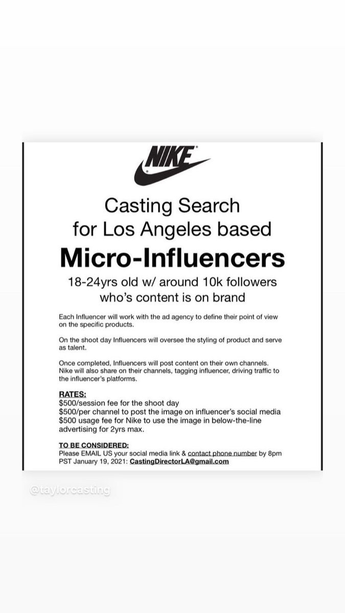 #nike #actorslife #castingcalls #microinfluencers #Influencer #auditions