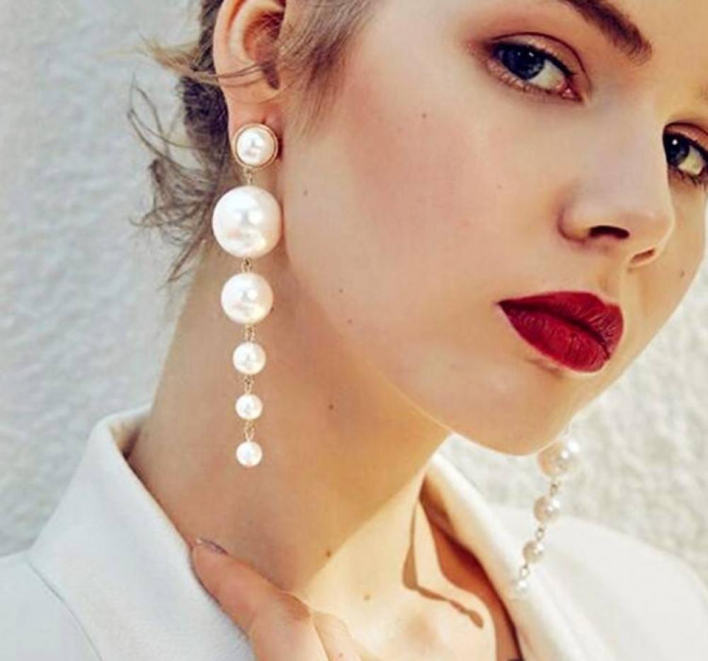 #hair #selfie Women's Oversized Pearl Earrings