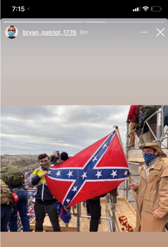 """Authorities say Bryan Betancur, arrested today in connection to the U.S. Capitol insurrection, told them about his membership in """"several white supremacy organizations.""""   He's seen in court docs holding a Confederate flag, wearing a Proud Boys T-shirt and flashing an """"ok"""" sign."""
