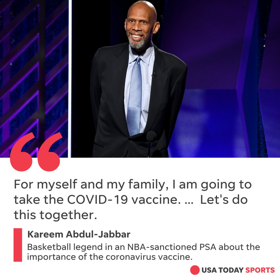 NBA legend Kareem Abdul-Jabbar announced he will receive the COVID-19 vaccine as part of the leagues efforts to promote vaccination. bit.ly/39JRm2q