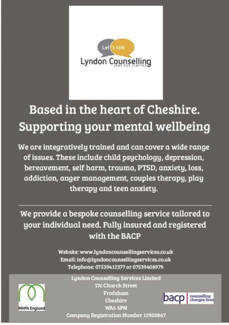 #counselling #mentalhealth #letstalk #lyndoncounsellingservices #frodsham #cheshire #halton #therapy #depression #anxiety #bereavement #counsellingsupport #wellbeing #MHFA