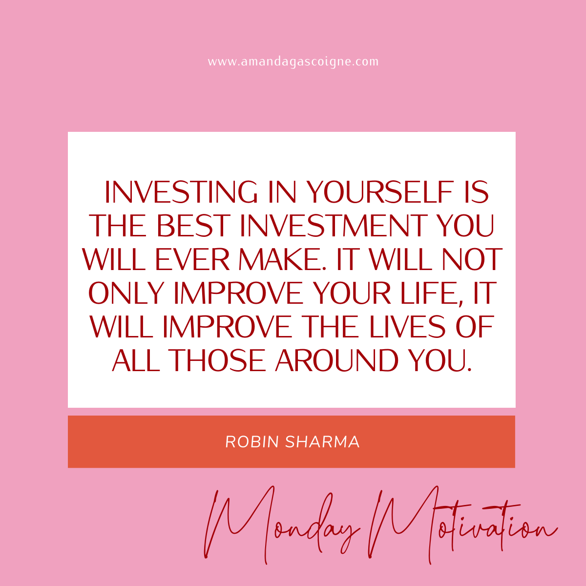 How are you investing in YOU this week?  #mondaymotivation