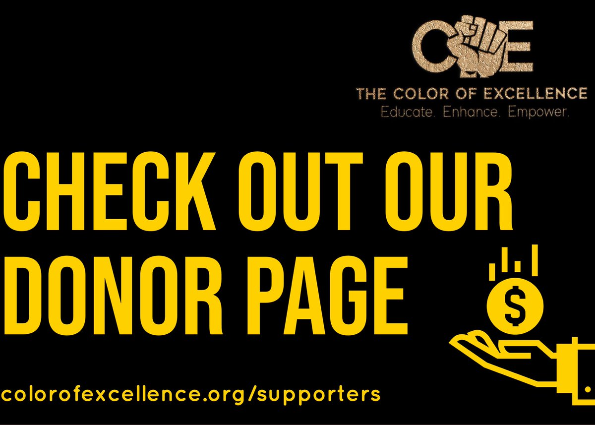 We know that everyone gets to where they are with the support of others!  We are grateful for our donors.    Check out the list at .  💲✊🏾✊🏽✊🏿✊🏼❤️ THE COLOR OF EXCELLENCE™©  @thecolorofexcellence  #TheColorOfExcellence #nonprofit #donate #thankyou