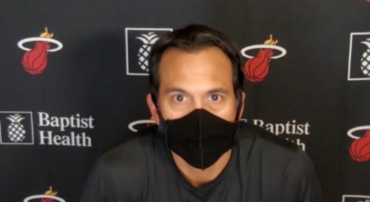 No update from #heat HC Erik Spoelstra on 8 players that are currently in quarantine. Players have missed last two games vs. #76ers after last week's #Celtics game was postponed. Host #Pistons at 3pm on Monday.  #COVID19 #MLKDay @miaheatbeat #HeatTwitter https://t.co/OiCke5JRmb