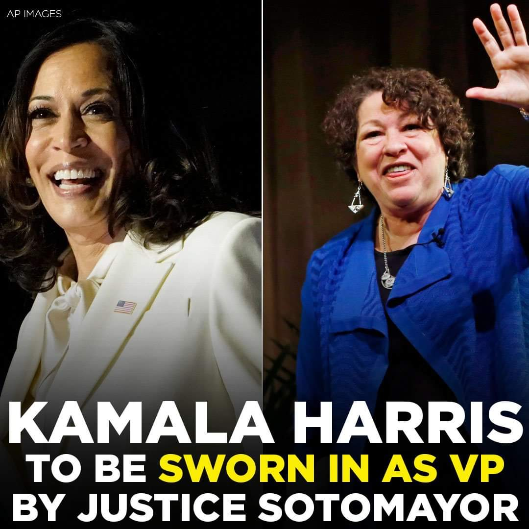 MAKING HISTORY: #KamalaHarris will make history as the first female, first Black and first South Asian vice president & she will be sworn in by #SoniaSotomayor, the first Hispanic and third female justice in US Supreme Court history 🇺🇸 #InaugurationDay #VicePresidentElectHarris