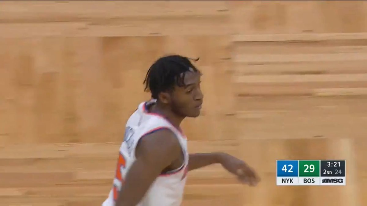 I.Q. impact! 🔥 Immanuel Quickley drops 11 PTS in the 2nd quarter to give @nyknicks the halftime lead on @NBATV.