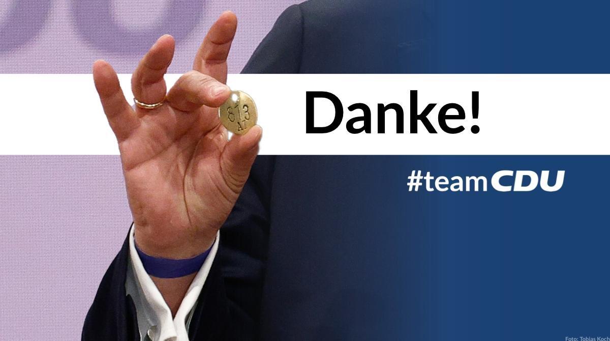 Danke für das #Vertrauen. Die @CDU hat mit dem digitalen Wahlparteitag Maßstäbe gesetzt.All denen,die für andere Bewerber gestimmt haben, will ich zuhören und sie einladen,ihre Ideen für unser Wahlprogramm einzubringen. Nur wenn alle dabei sind, bleiben wir Volkspartei. #TeamCDU https://t.co/Y14hxpOoKx