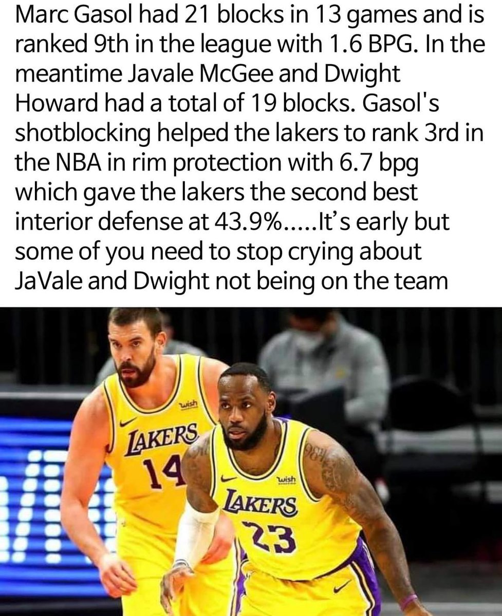 Marc Gasol has been so key this season. He will have good offensive games here and there as well. Look how the Raptors are missing his presence. #LakeShow https://t.co/9Q5DqIysSj