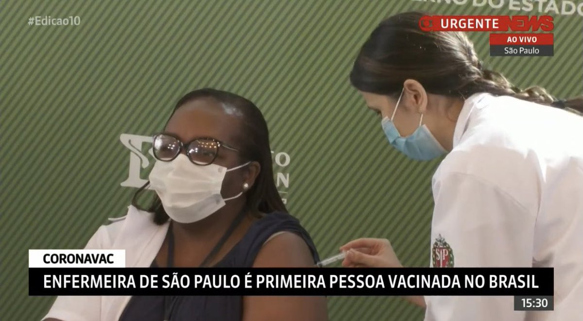 A cena da primeira pessoa vacinada em território brasileiro, uma profissional da saúde, mulher, negra, ficará para História do País. Um dia que nos enche de esperança e emoção. Tão logo chegue minha vez, estou pronto para ser vacinado.