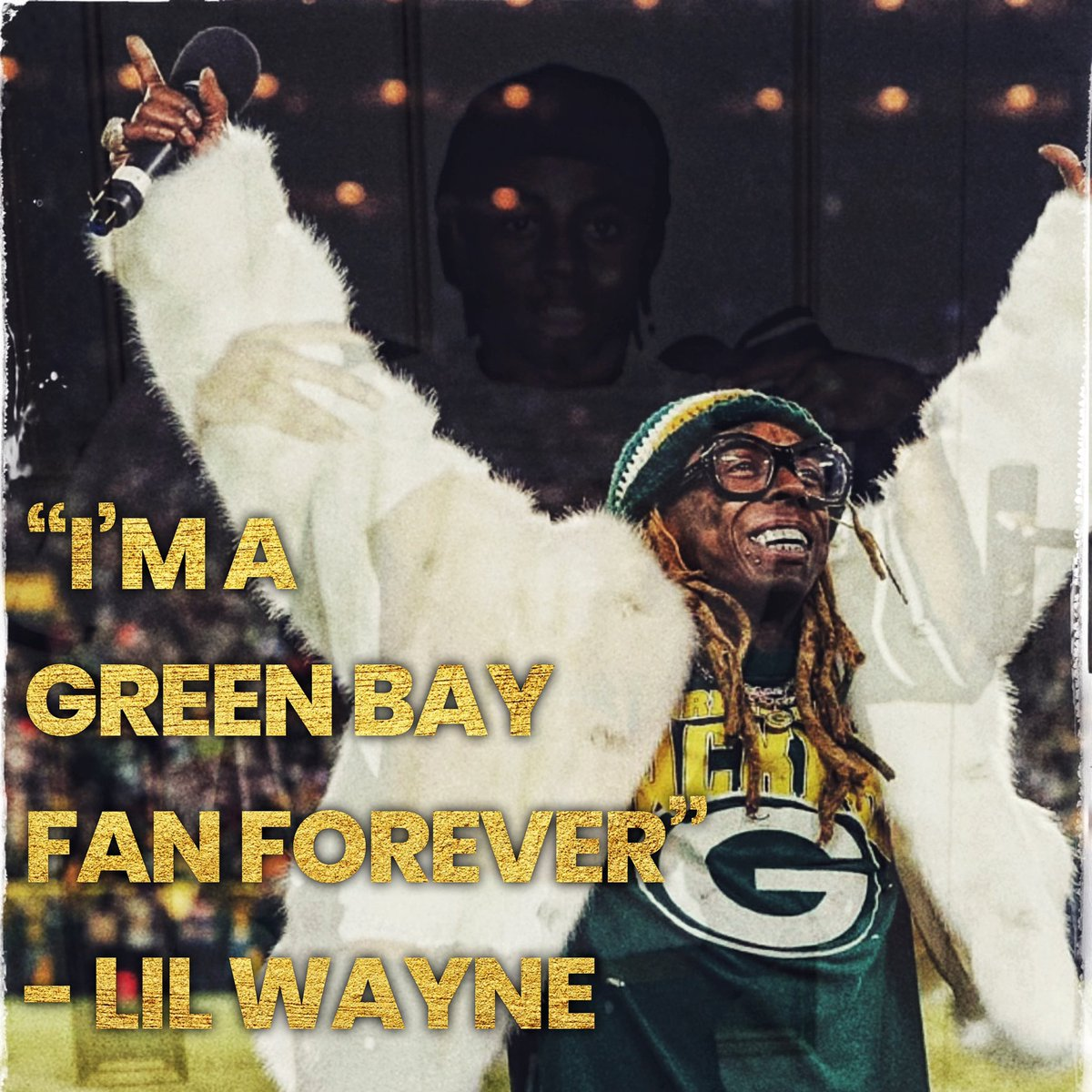 When @LilTunechi was 14, the @packers won the Super Bowl in his hometown NOLA  His stepdad, Rabbit, brought home Packers merch, & Weezy became a Cheesehead 🧀   24 years later, Wayne's new anthem #GreenAndYellow is fueling the team thru the playoffs  #GoPackGo 🟢🟡