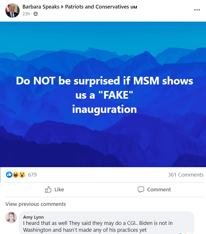 Holy shit how paranoid are these idiots? A fake inauguration? CGI? The comments in this thread are insane. How is it that these keyboard warriors think they know so much more than intelligence agencies and the media?  #TrumpCult #inauguration #biden #QAnons