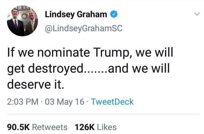 @drunkin_kyju @xmarathonerista @dmbtrivia2 @5thgensc @LindseyGrahamSC @TwitterSafety @TwitterSupport @BotSentinel Lindsey you HAD the right thought process in 03/16 but then you fucked up and decided to put party over country #AmericaOrTrump #GOPBetrayedAmerica #Inauguration2021 #sundayvibes