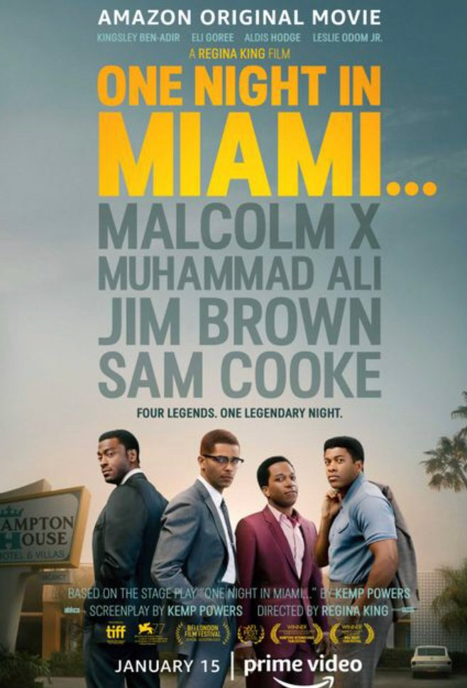 Wow. #OneNightInMiami was an amazing film @ReginaKing inspired by true events. Timely, superb acting by @kingsleybenadir @AldisHodge @TheRealEliGoree @leslieodomjr, rich dialogue on identity, racism, activism, social responsibility. Highly recommend.