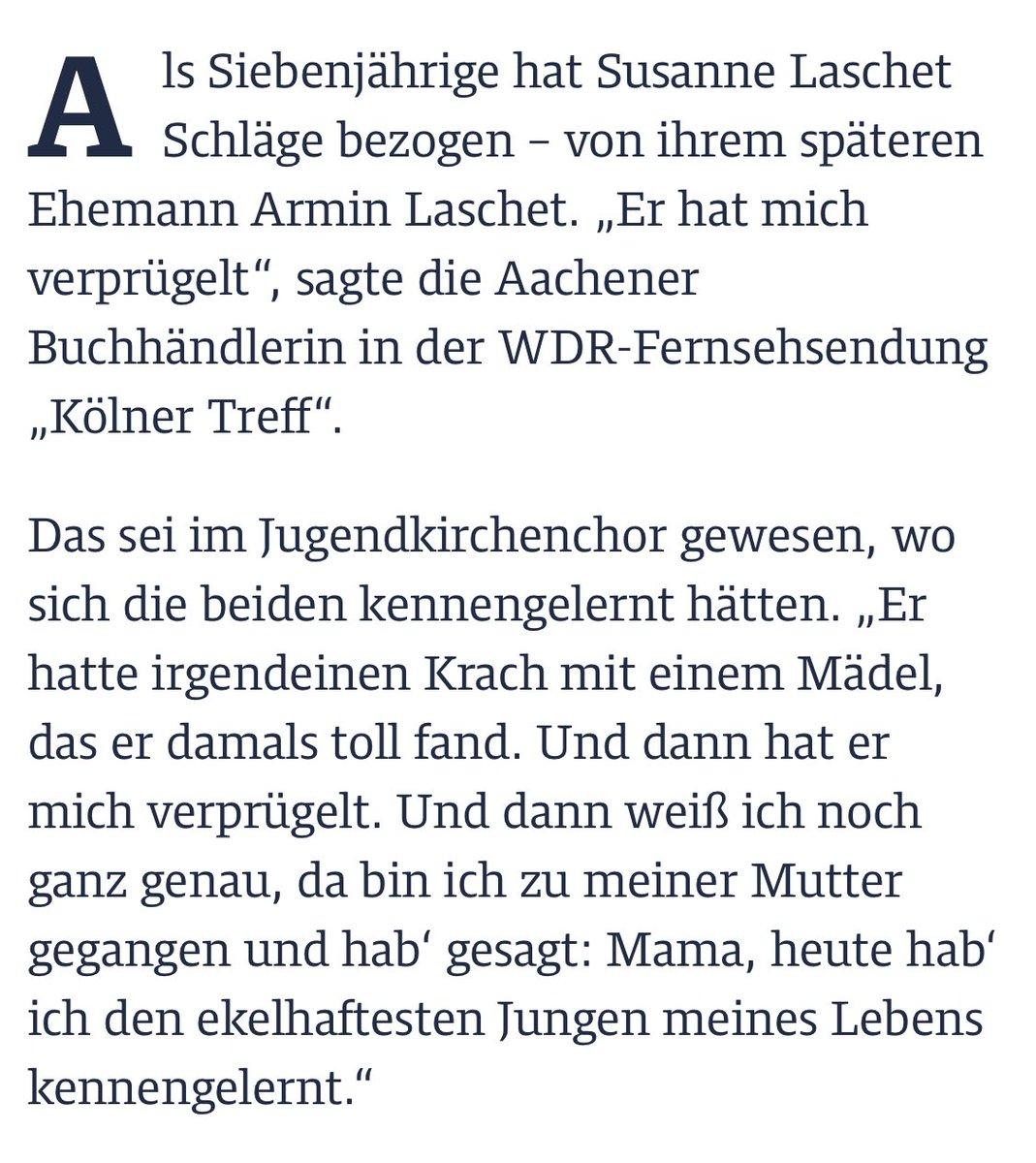 Jetzt kann man auch nochmal das sehr gute Kölner Treff Interview rauskramen mit Susanne Laschet, der Ehefrau von Armin Laschet. Da wurde Erstaunliches gesagt: