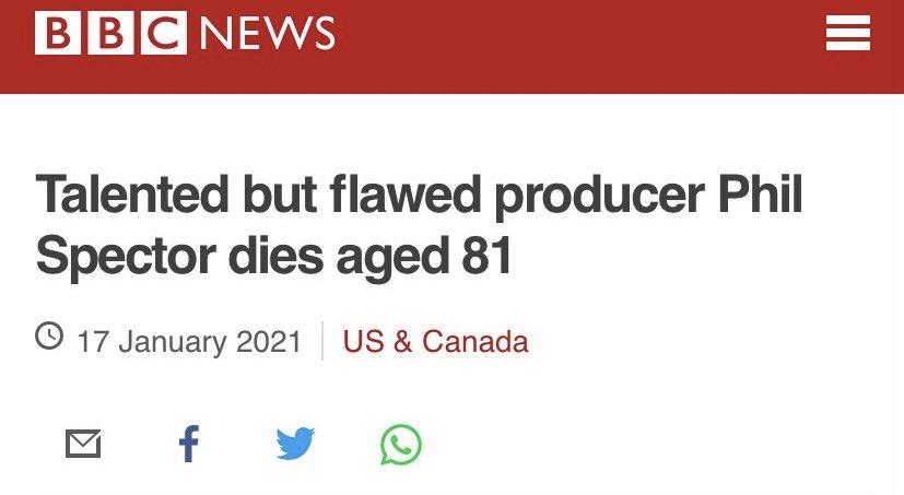He murdered Lana Clarkson. Unforgivable reporting. #PhilSpector