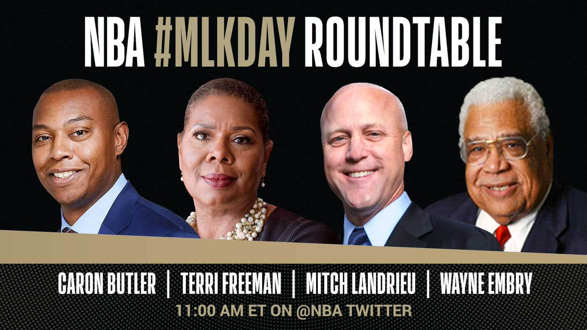 Tune in tomorrow at 11am/et on @NBA for a special #MLKDay Roundtable on Dr. King's life, legacy, and the movement for racial justice featuring Caron Butler, @NCRMuseum President Terri Freeman, @UnumFund Founder @MitchLandrieu, and barrier-breaking NBA executive Wayne Embry.