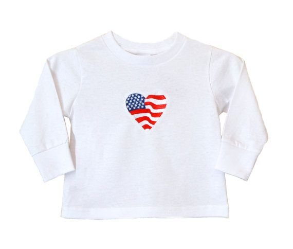 """Heart Flag"" Embroidered Shirt *Visit link to see embroidery on the back*  #shirt #heart #flag #girls #clothing #embroidery #red #white #blue #stars #stripes #patriotic #4thofJuly #america #apparel #tops #unitedstates #longsleeved #gift #fashion"