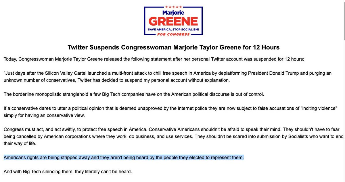 Twitter has suspended Congresswoman Marjorie Taylor Greene, according to her office. She is a representative from Georgia, who has, in the past, made statements in support of QAnon. (H/t: @ReporterCioffi)