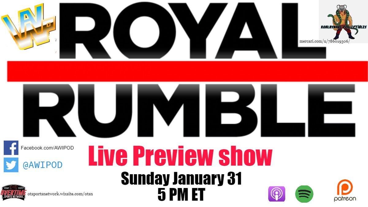 Join us live 2 hours before the Royal Rumble PPV January 31st! Erica and Brent will talk some #WWENXT and give you all their predictions for #RoyalRumble 2021! #AWIPOD #AWIPODNXTTalkOver #WWE #WWERaw #SmackDown
