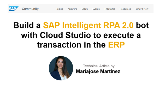 Build a Intelligent #RPA 2.0 #bot with #Cloud Studio to execute a transaction in #ERP | #SAP #SAPBTP #Apps #PaaS #AI #ML #iRPA #Automation #CX #AppDev #MultiCloud #SaaS #Chatbots #CX #BigData #Analytics #Robotics #tech #DigitalTransformation https://t.co/wk682WS2Vn https://t.co/1z1SbvAb0O