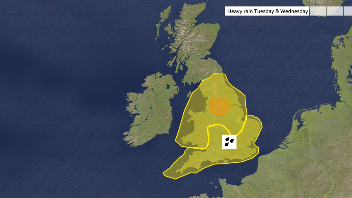 Met Office warnings for heavy rain have been issued for parts of the UK on Tuesday and Wednesday. Full details here: