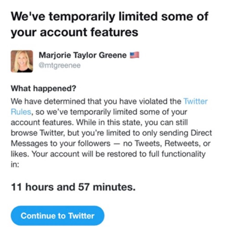Twitter has suspended QAnon extremist Republican Marjorie Taylor Greene from Twitter for 12 hours