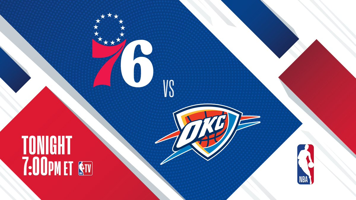 The @okcthunder (coming off a 22-point comeback W) host the 9-5 @sixers at 7pm/et on @NBATV.