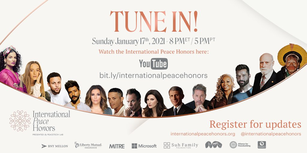 We are just a FEW hours away! 🤩 Do not miss the @IntlPeaceHonors TODAY at 8 pm (ET)/ 5 pm (PT). Watch the event here:  #InternationalPeaceHonors #PeaceTechLab #IPH #PTL #Techforgood