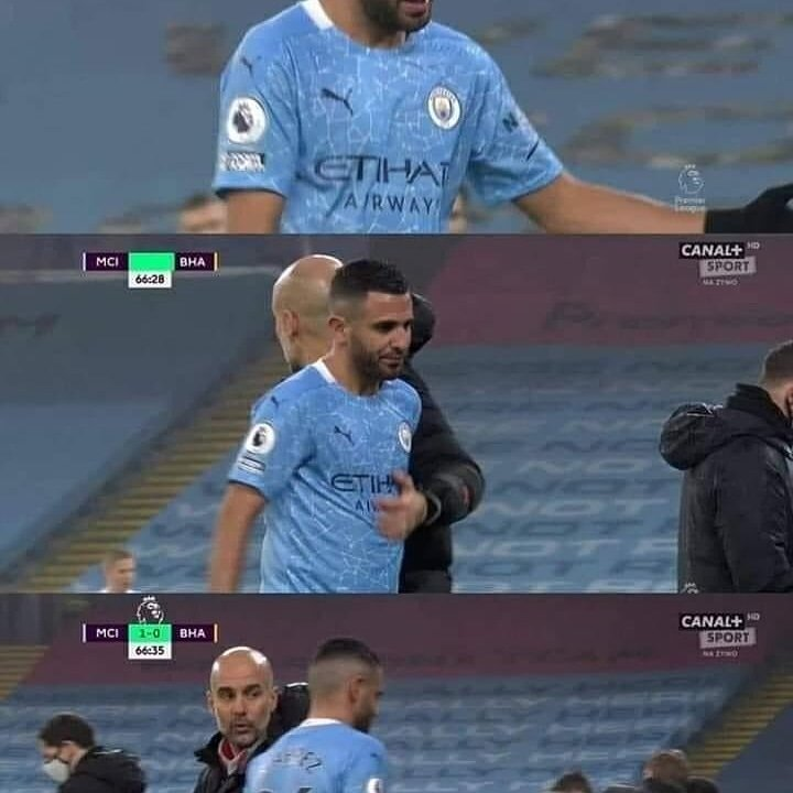 @Mahrez22  was starting once in last 5 games #BHA .He entered a subs #sou  game 18'm.and #che 4'm.and he was out in twice game , #wba and #new .finaly #Mahrez22 played 89'm of 450'm!  he must think to  the best solution for all and him #MCIBHA #ManUtd