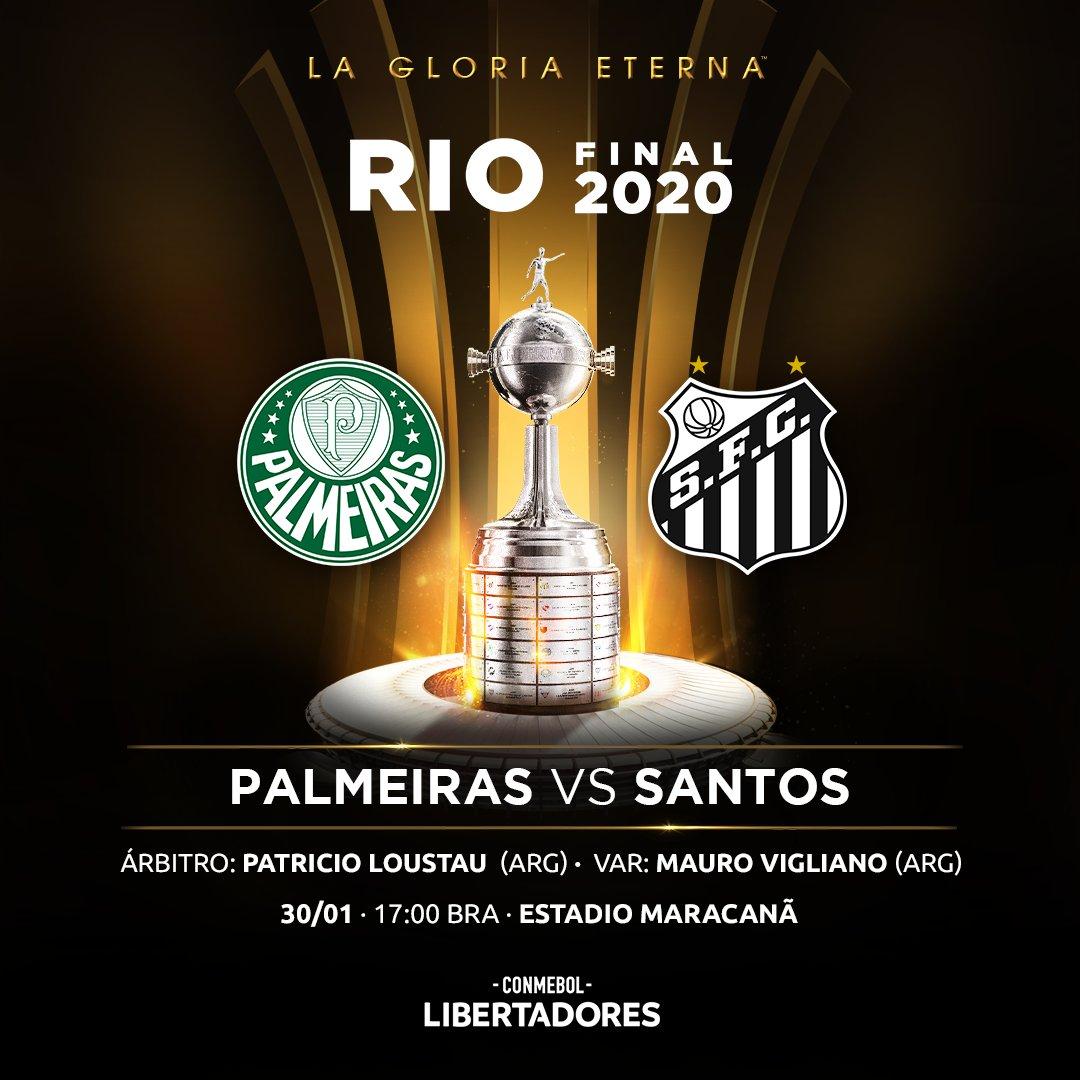 📌 ¡El árbitro de la Final! El argentino Patricio Loustau dirigirá la definición de la CONMEBOL #Libertadores entre @Palmeiras y @SantosFC el 30 de enero en el Maracaná.  #GloriaEterna