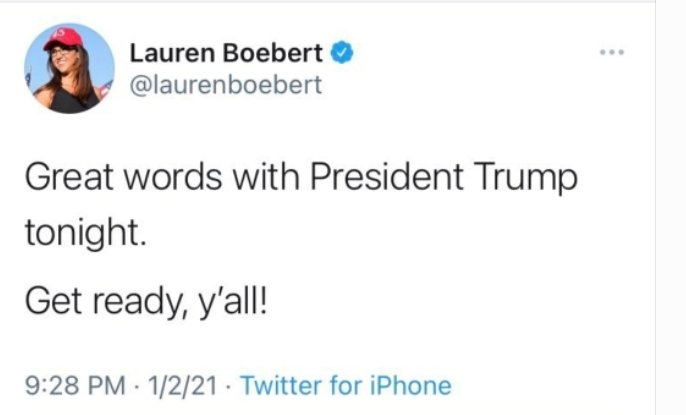 @FBI @FBIWFO  Wish I Was A Fly  On The Wall When #Trump & #LaurenBoebert Had Their Discussion on 01/02/21  She Seemed To Know, Before The #Insurrection, There Would Be An ATTACK