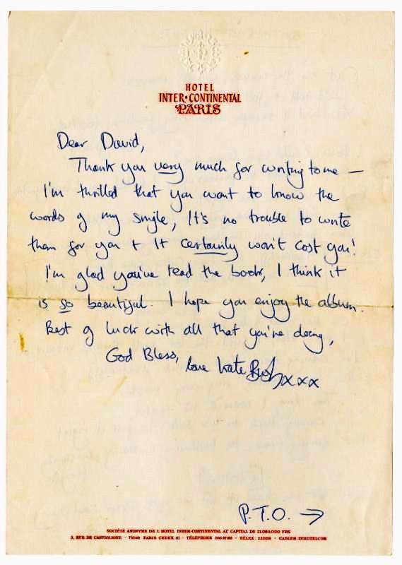 A fan wrote to Kate Bush asking her if he could pay for her to write out and send the lyrics to Wuthering Heights. Her reply was 😍😍😍😍😍