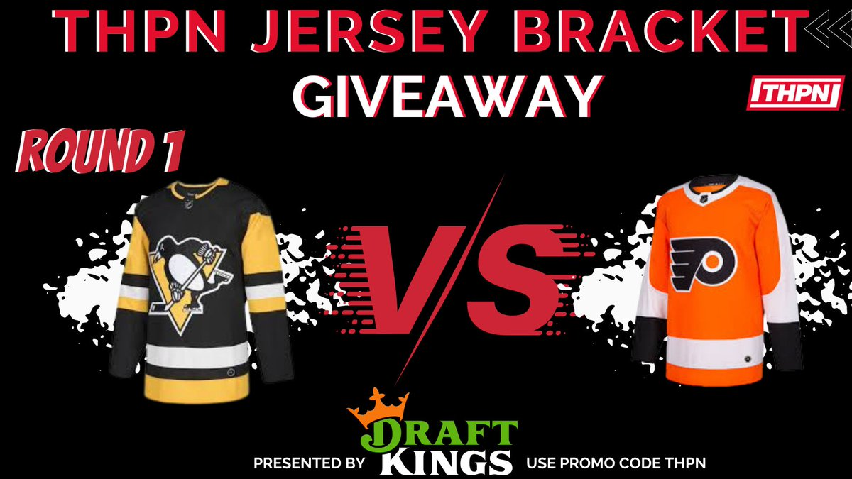 ROUND 1 - THPN Jersey Bracket  Penguins VS Flyers  Vote Below!  #LetsGoPens #AnytimeAnywhere   Presented by @DraftKings - Use Promo Code THPN at Sign Up