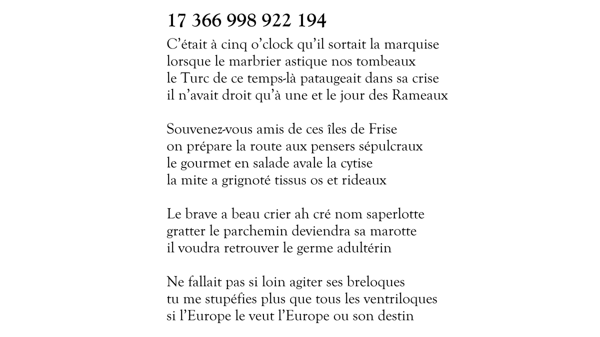 Voici le sonnet 17 366 998 922 194 sur 100 000 000 000 000. Il en reste 99 999 999 998 429 à tweeter. https://t.co/mIV91IUVEZ