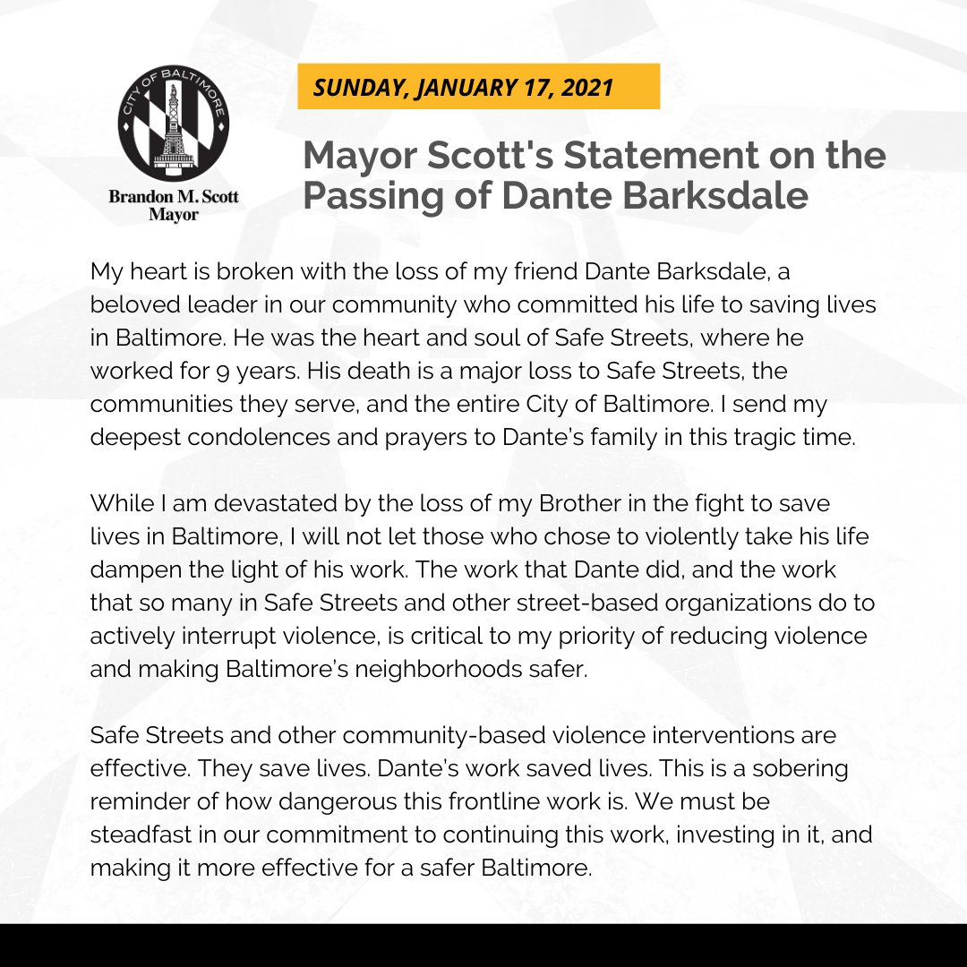 My heart is broken with the loss of my friend Dante Barksdale, someone who committed his life to saving lives in Baltimore. I'm devastated by the loss of my Brother and will not let those who chose to violently take his life dampen the light of his work.