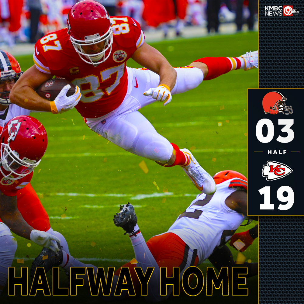 HALFWAY HOME: How you feelin' out there #ChiefsKingdom? Your Chiefs lead the Cleveland Browns at the half, 19-3. What do you want to see different in the second half? #RunItBack #CLEvsKC