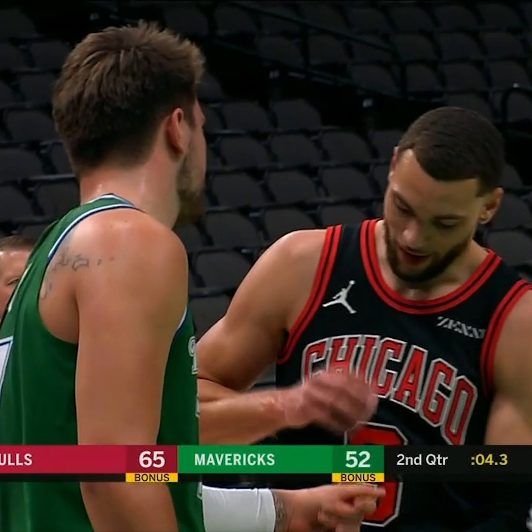 LaVine trying anything to cool Luka's hot hand after he dropped 30 in the first half 😅