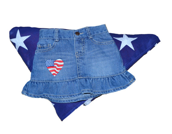 """Heart Flag"" Embroidered Denim Skirt with Shorts   via @Etsy #skirt #heart #flag #girls #embroidery #denim #pants #shorts #clothing #child #fashion #america #patriotic #unitedstates #4thofjuly #apparel #bottoms #toddler #infant"