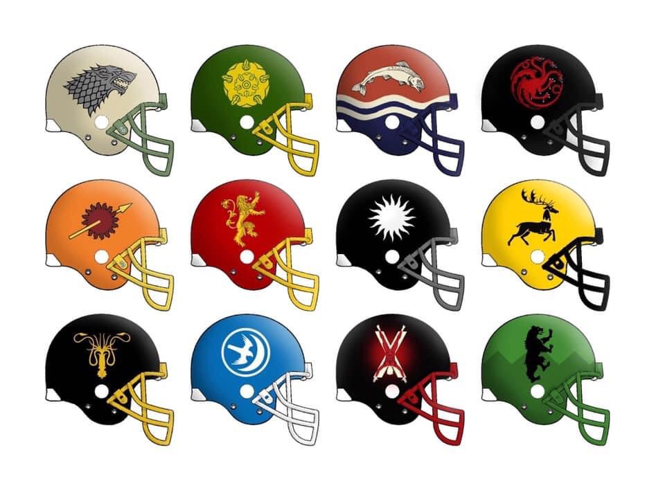 Made some #GameOfThrones #football helmet designs last year... think my favourite is House Tully. There were a lot of elements to fit onto that helmet. What's your favourite? #NFL #Winteriscoming