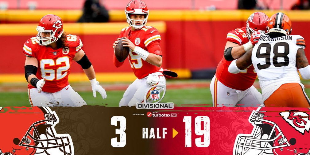 #NFL    #NFLPlayoffs  The @Chiefs seem to be in full control of this game so far. HALFTIME:  @Browns 3,  @Chiefs 19  #Browns   #CHIEFSKINGDOM