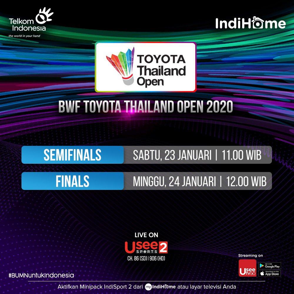 BWF Toyota Thailand Open akan segera di mulai! Siapa jagoan kamu? Saksikan 19 - 24 Januari 2021 . Subscribe minipack IndiSport 2 dari layar TV atau via aplikasi myIndiHome kamu! . #HomeofPremiumSports #BWFWorldTour #ToyotaThailand https://t.co/fCn1iGqx4R