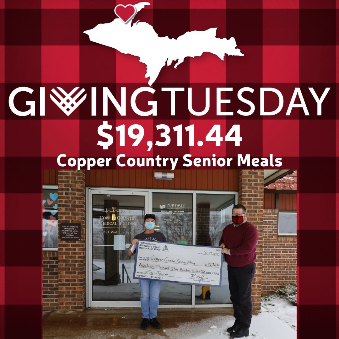 it was the best #GivingTuesday yet for our friends at Copper Country Senior Meals as they raised $19,311.44! This amazing group took every challenge head on in 2020, and is thankful for your support. Learn more about them at . #Give906 #CopperCountryStrong
