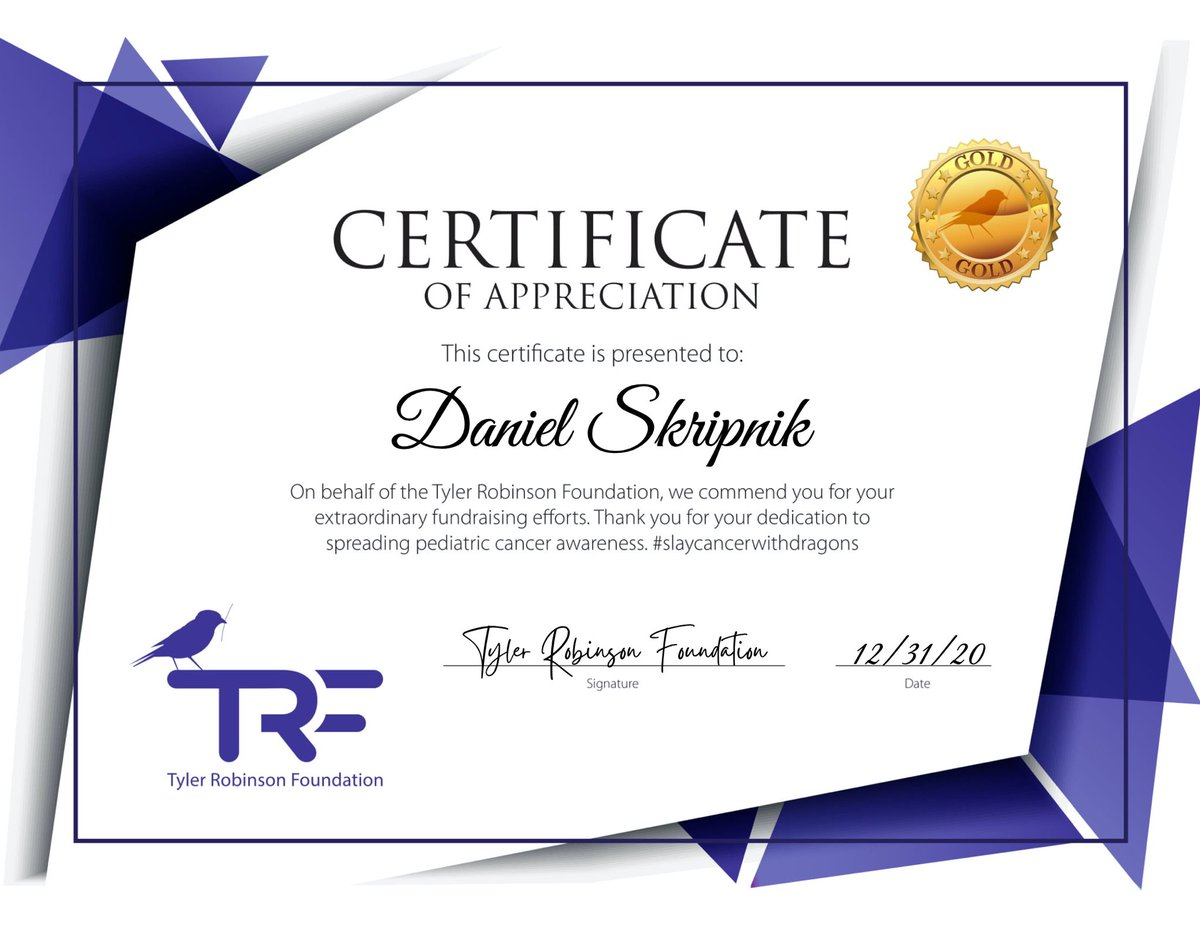 wow!  Thank you very much @TRFdotORG for this sweet and wonderful honor.  It is a big pleasure for me to support our Foundation and help families.  I'm so glad that people like the TRF Quest last year and I promise - you've seen nothing yet🍎  Much love, Daniel🌻