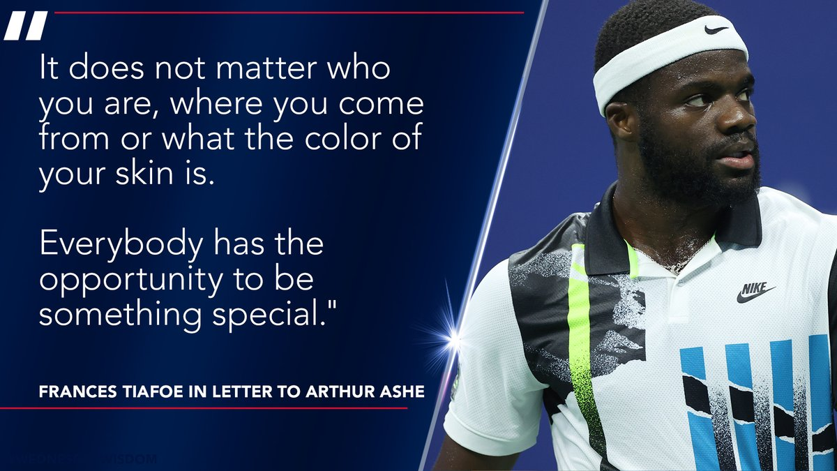Dear Arthur ✍️   Frances Tiafoe pens his thoughts to the late Arthur Ashe in letter after winning the @ATP's Humanitarian Award named for Ashe.   Read more ➡️: https://t.co/tJ1sZuFCGM https://t.co/c9JHxjtktd