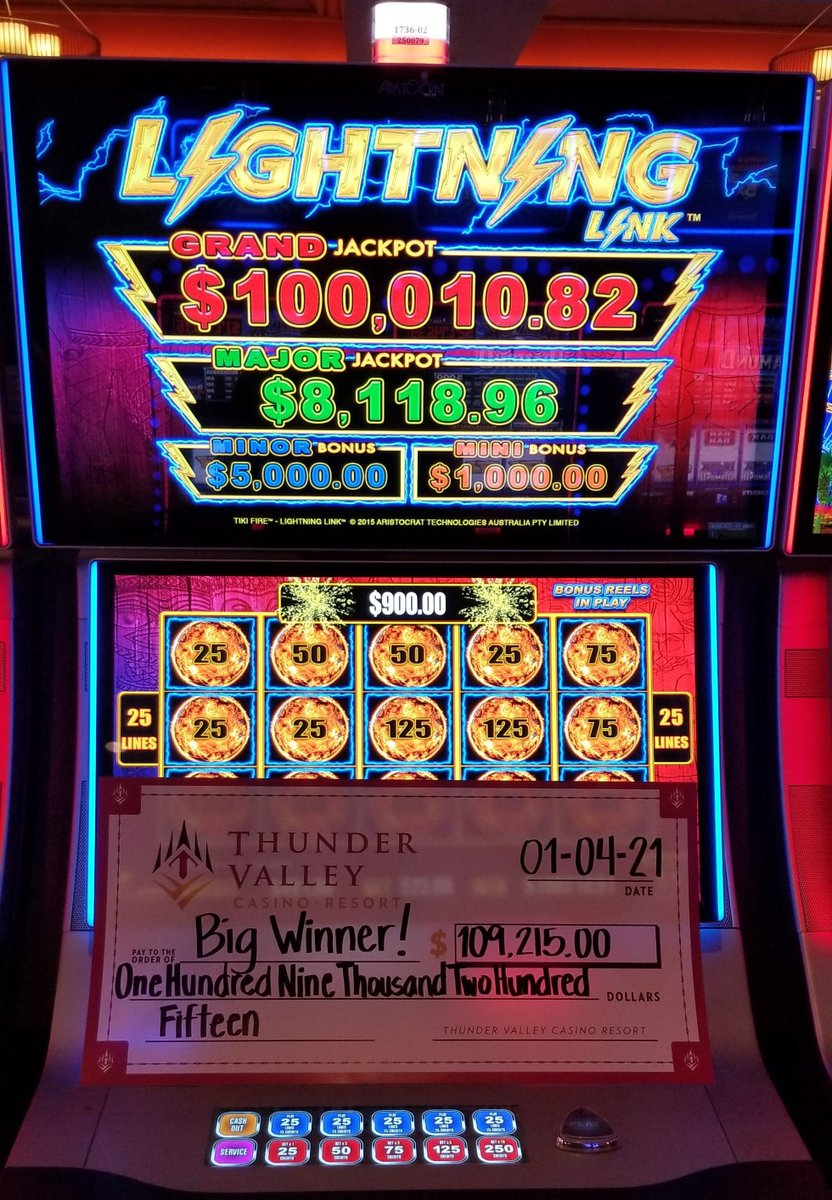 One lucky guest took home a $109,215 jackpot last night on Lightning Link Tiki Fire! 🎉 🎰💰⚡