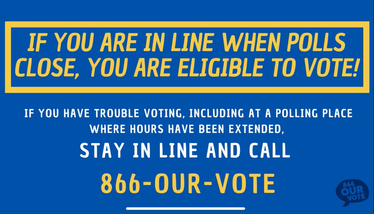 If you are in line to vote at your polling place by 7pm, you are eligible to vote! If a poll worker or another voter tries to challenge your right to vote, call 866-OUR-VOTE (866-687-8683) to get help from a trained #ElectionProtection volunteer. #GASenateRunoff