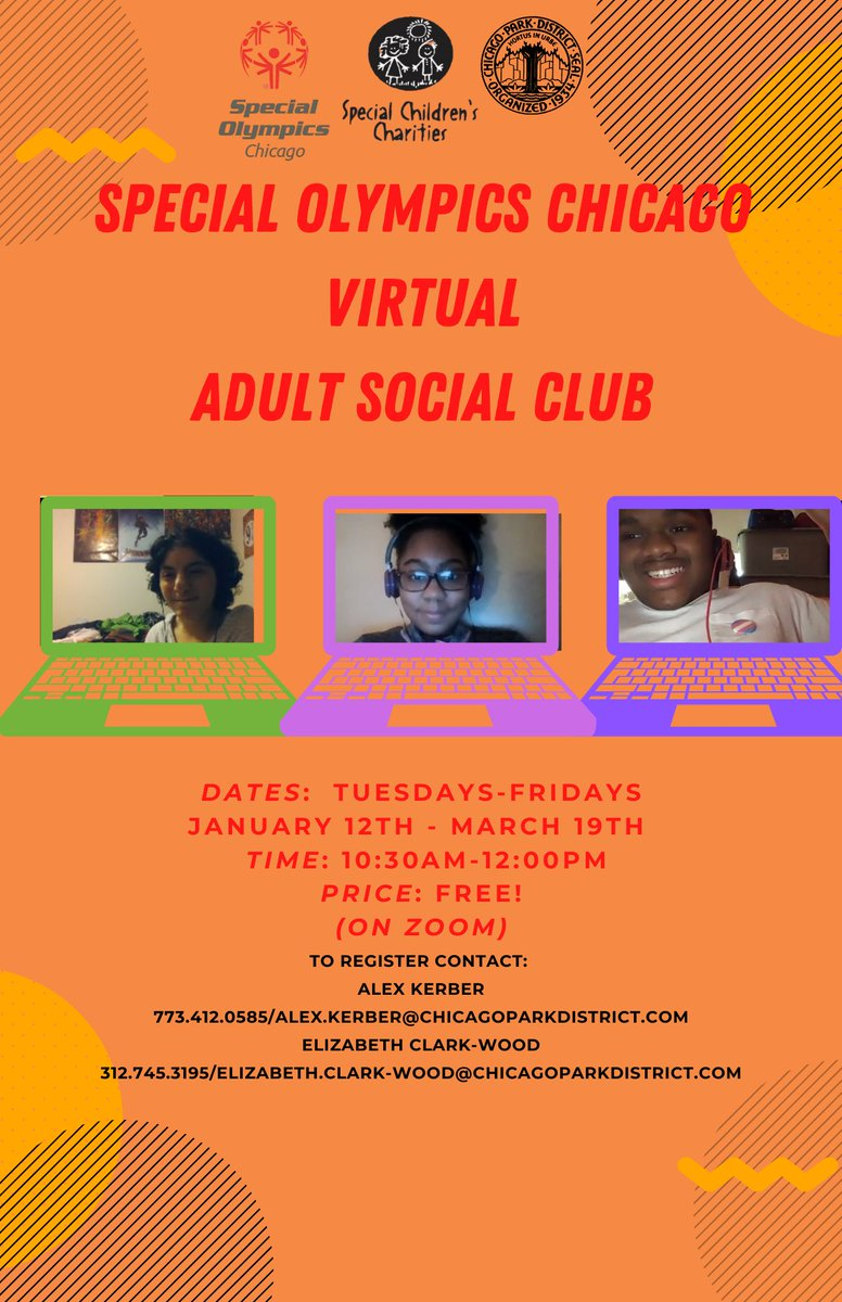 Don't forget: A week from today Chicago Park District's Virtual Adult Social Club, Virtual Fitness, and Virtual Fun and Games start! See the entire winter class schedule and sign up today! https://t.co/SHItoTQsk8 https://t.co/pi8cfqYzLv