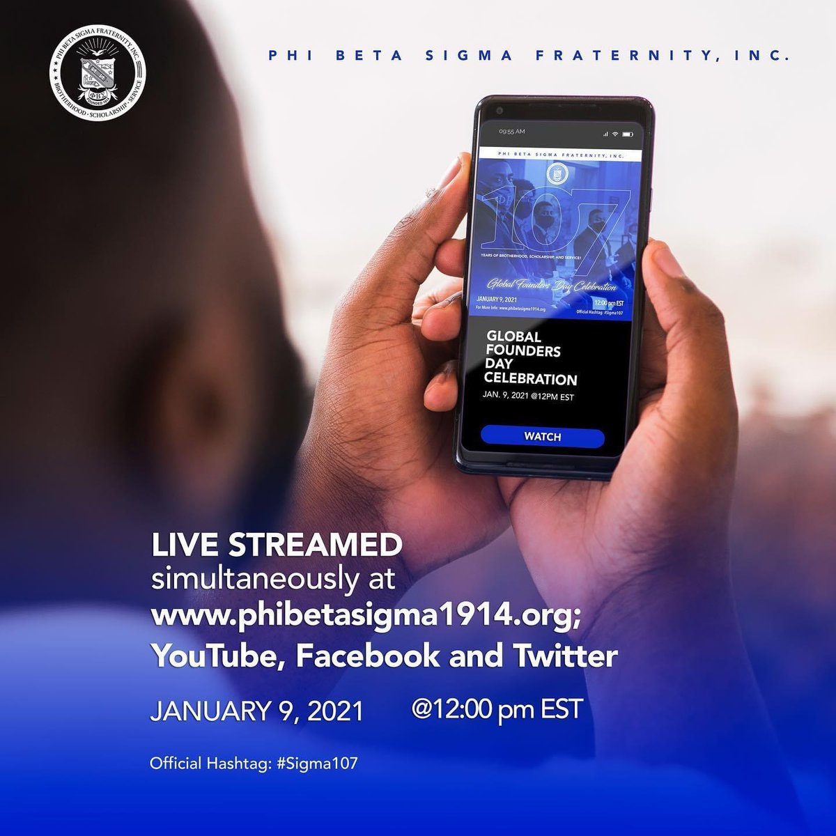 Livestream our 107th Virtual Global Founders' Day Celebration on Jan 9, 2021 at 12 PM EST on YouTube, Facebook and Twitter!  Click one of the links below to watch the event live. YouTube:  Facebook:  Twitter: