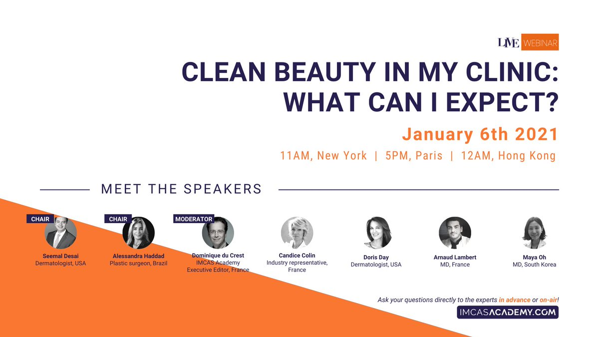 "LIVE WEBINAR TODAY January 6, 2021 at 5PM  Join us TODAY at 5PM for the first IMCAS webinar of 2021 which focuses on ""Clean Beauty in my clinic: what can I expect?""   Register & watch for free here 👉 https://t.co/WDoRqzSqde https://t.co/MajWBm9N87"